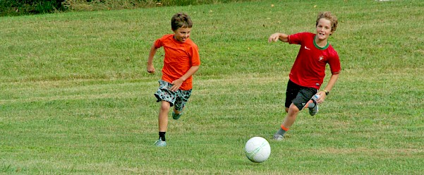 Capers playing Soccer at Camp Roosevelt-Firebird