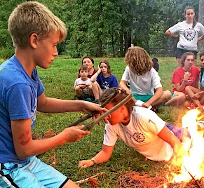 Firebuilding at Summer Camp